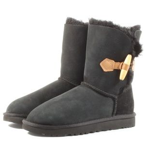 Ugg Keely Genuine Sheepskin Suede Boots Black SZ 5